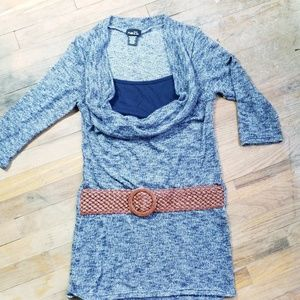 Rue21 cowl neck tunic sweater belt size M
